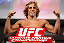 LAS VEGAS, NV - APRIL 12: Urijah Faber weighs in during the TUF 17 Finale weigh-in at the Hollywood Theatre at the MGM Grand Hotel/Casino on April 12, 2013 in Las Vegas, Nevada. (Photo by Josh Hedges/Zuffa LLC/Zuffa LLC via Getty Images)