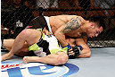 LAS VEGAS, NV - APRIL 13:   Daniel Pineda (top) attempts to submit Justin Lawrence in their featherweight fight at the Mandalay Bay Events Center  on April 13, 2013 in Las Vegas, Nevada.  (Photo by Josh Hedges/Zuffa LLC/Zuffa LLC via Getty Images)  *** Local Caption *** Justin Lawrence; Daniel Pineda