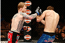 LAS VEGAS, NV - APRIL 13:   (L-R) Bart Palaszewski punches Cole Miller in their featherweight fight at the Mandalay Bay Events Center  on April 13, 2013 in Las Vegas, Nevada.  (Photo by Josh Hedges/Zuffa LLC/Zuffa LLC via Getty Images)  *** Local Caption *** Cole Miller; Bart Palaszewski