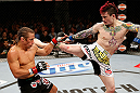 LAS VEGAS, NV - APRIL 13:   (R-L) Scott Jorgensen kicks Urijah Faber in their bantamweight fight at the Mandalay Bay Events Center  on April 13, 2013 in Las Vegas, Nevada.  (Photo by Josh Hedges/Zuffa LLC/Zuffa LLC via Getty Images)  *** Local Caption *** Urijah Faber; Scott Jorgensen