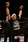LAS VEGAS, NV - APRIL 13:   Urijah Faber reacts to his victory over Scott Jorgensen in their bantamweight fight at the Mandalay Bay Events Center  on April 13, 2013 in Las Vegas, Nevada.  (Photo by Josh Hedges/Zuffa LLC/Zuffa LLC via Getty Images)  *** Local Caption *** Urijah Faber; Scott Jorgensen