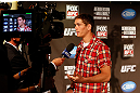 SAN JOSE, CA - APRIL 18:  Jordan Mein conducts interviews during media day ahead of the UFC on FOX event at HP Pavilion on April 18, 2013 in San Jose, California.  (Photo by Josh Hedges/Zuffa LLC/Zuffa LLC via Getty Images)