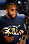 SAN JOSE, CA - APRIL 18:  Daniel Cormier conducts interviews during media day ahead of the UFC on FOX event at HP Pavilion on April 18, 2013 in San Jose, California.  (Photo by Josh Hedges/Zuffa LLC/Zuffa LLC via Getty Images)