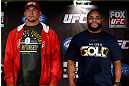 SAN JOSE, CA - APRIL 18:   (L-R) Opponents Frank Mir and Daniel Cormier pose for photos during media day ahead of the UFC on FOX event at HP Pavilion on April 18, 2013 in San Jose, California.  (Photo by Josh Hedges/Zuffa LLC/Zuffa LLC via Getty Images)