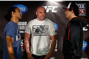 SAN JOSE, CA - APRIL 18:   (L-R) Opponents Benson Henderson and Gilbert Melendez face off during media day ahead of the UFC on FOX event at HP Pavilion on April 18, 2013 in San Jose, California.  (Photo by Josh Hedges/Zuffa LLC/Zuffa LLC via Getty Images)
