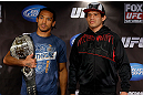 SAN JOSE, CA - APRIL 18:   (L-R) Opponents Benson Henderson and Gilbert Melendez pose for photos during media day ahead of the UFC on FOX event at HP Pavilion on April 18, 2013 in San Jose, California.  (Photo by Josh Hedges/Zuffa LLC/Zuffa LLC via Getty Images)