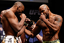 SAN JOSE, CA - APRIL 19:   (L-R) Opponents Clifford Starks and Yoel Romero face off during the UFC on FOX weigh-in at the California Theatre on April 19, 2013 in San Jose, California.  (Photo by Josh Hedges/Zuffa LLC/Zuffa LLC via Getty Images)