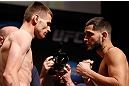 SAN JOSE, CA - APRIL 19:   (L-R) Opponents Tim Means and Jorge Masvidal face off during the UFC on FOX weigh-in at the California Theatre on April 19, 2013 in San Jose, California.  (Photo by Josh Hedges/Zuffa LLC/Zuffa LLC via Getty Images)