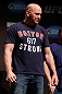 SAN JOSE, CA - APRIL 19:   UFC President Dana White is seen on stage wearing a Boston Strong shirt during the UFC on FOX weigh-in at the California Theatre on April 19, 2013 in San Jose, California.  (Photo by Josh Hedges/Zuffa LLC/Zuffa LLC via Getty Images)