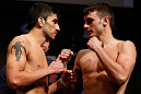 SAN JOSE, CA - APRIL 19:   (L-R) Opponents Ramsey Nijem and Myles Jury face off during the UFC on FOX weigh-in at the California Theatre on April 19, 2013 in San Jose, California.  (Photo by Josh Hedges/Zuffa LLC/Zuffa LLC via Getty Images)