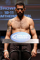 SAN JOSE, CA - APRIL 19:   Matt Brown weighs in during the UFC on FOX weigh-in at the California Theatre on April 19, 2013 in San Jose, California.  (Photo by Josh Hedges/Zuffa LLC/Zuffa LLC via Getty Images)