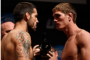 SAN JOSE, CA - APRIL 19:   (L-R) Opponents Matt Brown and Jordan Mein face off during the UFC on FOX weigh-in at the California Theatre on April 19, 2013 in San Jose, California.  (Photo by Josh Hedges/Zuffa LLC/Zuffa LLC via Getty Images)