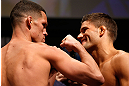 SAN JOSE, CA - APRIL 19:   (L-R) Opponents Nate Diaz and Josh Thomson face off during the UFC on FOX weigh-in at the California Theatre on April 19, 2013 in San Jose, California.  (Photo by Josh Hedges/Zuffa LLC/Zuffa LLC via Getty Images)
