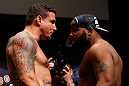 SAN JOSE, CA - APRIL 19:   (L-R) Opponents Frank Mir and Daniel Cormier face off during the UFC on FOX weigh-in at the California Theatre on April 19, 2013 in San Jose, California.  (Photo by Josh Hedges/Zuffa LLC/Zuffa LLC via Getty Images)