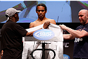 SAN JOSE, CA - APRIL 19:   Benson Henderson weighs in during the UFC on FOX weigh-in at the California Theatre on April 19, 2013 in San Jose, California.  (Photo by Josh Hedges/Zuffa LLC/Zuffa LLC via Getty Images)