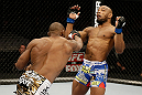 SAN JOSE, CA - APRIL 20:   (L-R) Clifford Starks punches Yoel Romero in their middleweight bout during the UFC on FOX event at the HP Pavilion on April 20, 2013 in San Jose, California.  (Photo by Ezra Shaw/Zuffa LLC/Zuffa LLC via Getty Images)  *** Local Caption *** Clifford Starks; Yoel Romero