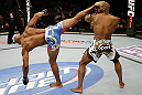 SAN JOSE, CA - APRIL 20:   (L-R) Yoel Romero kicks Clifford Starks in their middleweight bout during the UFC on FOX event at the HP Pavilion on April 20, 2013 in San Jose, California.  (Photo by Ezra Shaw/Zuffa LLC/Zuffa LLC via Getty Images)  *** Local Caption *** Clifford Starks; Yoel Romero