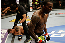 SAN JOSE, CA - APRIL 20:   Anthony Njokuani (right) reacts to his knockout victory over Roger Bowling in their lightweight bout during the UFC on FOX event at the HP Pavilion on April 20, 2013 in San Jose, California.  (Photo by Ezra Shaw/Zuffa LLC/Zuffa LLC via Getty Images)  *** Local Caption *** Anthony Njokuani; Roger Bowling