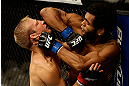 SAN JOSE, CA - APRIL 20:   (R-L) Hugo Viana elbows T.J. Dillashaw in their bantamweight bout during the UFC on FOX event at the HP Pavilion on April 20, 2013 in San Jose, California.  (Photo by Ezra Shaw/Zuffa LLC/Zuffa LLC via Getty Images)  *** Local Caption *** T.J. Dillashaw; Hugo Viana