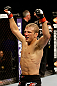 SAN JOSE, CA - APRIL 20:   T.J. Dillashaw reacts to his victory over Hugo Viana in their bantamweight bout during the UFC on FOX event at the HP Pavilion on April 20, 2013 in San Jose, California.  (Photo by Ezra Shaw/Zuffa LLC/Zuffa LLC via Getty Images)  *** Local Caption *** T.J. Dillashaw; Hugo Viana