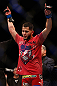 SAN JOSE, CA - APRIL 20:   Jorge Masvidal reacts to his victory over Tim Means in their lightweight bout during the UFC on FOX event during the UFC on FOX event at the HP Pavilion on April 20, 2013 in San Jose, California.  (Photo by Josh Hedges/Zuffa LLC/Zuffa LLC via Getty Images)  *** Local Caption *** Tim Means; Jorge Masvidal