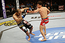 SAN JOSE, CA - APRIL 20:   (R-L) Joseph Benavidez punches Darren Uyenoyama in their flyweight bout during the UFC on FOX event at the HP Pavilion on April 20, 2013 in San Jose, California.  (Photo by Ezra Shaw/Zuffa LLC/Zuffa LLC via Getty Images)  *** Local Caption *** Joseph Benavidez; Darren Uyenoyama