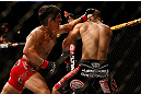 SAN JOSE, CA - APRIL 20:   (L-R) Joseph Benavidez punches Darren Uyenoyama in their flyweight bout during the UFC on FOX event during the UFC on FOX event at the HP Pavilion on April 20, 2013 in San Jose, California.  (Photo by Josh Hedges/Zuffa LLC/Zuffa LLC via Getty Images)  *** Local Caption *** Joseph Benavidez; Darren Uyenoyama