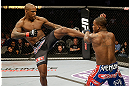 SAN JOSE, CA - APRIL 20:   (L-R) Francis Carmont kicks Lorenz Larkin in their middleweight bout during the UFC on FOX event at the HP Pavilion on April 20, 2013 in San Jose, California.  (Photo by Ezra Shaw/Zuffa LLC/Zuffa LLC via Getty Images)  *** Local Caption *** Francis Carmont; Lorenz Larkin