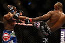 SAN JOSE, CA - APRIL 20:   (R-L) Francis Carmont kicks Lorenz Larkin in their middleweight bout during the UFC on FOX event during the UFC on FOX event at the HP Pavilion on April 20, 2013 in San Jose, California.  (Photo by Josh Hedges/Zuffa LLC/Zuffa LLC via Getty Images)  *** Local Caption *** Francis Carmont; Lorenz Larkin