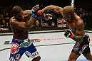 SAN JOSE, CA - APRIL 20:   (R-L) Francis Carmont punches Lorenz Larkin in their middleweight bout during the UFC on FOX event at the HP Pavilion on April 20, 2013 in San Jose, California.  (Photo by Ezra Shaw/Zuffa LLC/Zuffa LLC via Getty Images)  *** Local Caption *** Francis Carmont; Lorenz Larkin