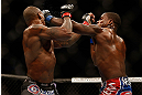 SAN JOSE, CA - APRIL 20:   (R-L) Lorenz Larkin punches Francis Carmont in their middleweight bout during the UFC on FOX event during the UFC on FOX event at the HP Pavilion on April 20, 2013 in San Jose, California.  (Photo by Josh Hedges/Zuffa LLC/Zuffa LLC via Getty Images)  *** Local Caption *** Francis Carmont; Lorenz Larkin