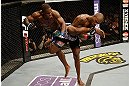SAN JOSE, CA - APRIL 20:   (R-L) Francis Carmont trips Lorenz Larkin in their middleweight bout during the UFC on FOX event at the HP Pavilion on April 20, 2013 in San Jose, California.  (Photo by Ezra Shaw/Zuffa LLC/Zuffa LLC via Getty Images)  *** Local Caption *** Francis Carmont; Lorenz Larkin