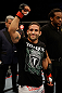 SAN JOSE, CA - APRIL 20:   Chad Mendes reacts to his victory over Darren Elkins in their featherweight bout during the UFC on FOX event at the HP Pavilion on April 20, 2013 in San Jose, California.  (Photo by Ezra Shaw/Zuffa LLC/Zuffa LLC via Getty Images)  *** Local Caption *** Chad Mendes; Darren Elkins