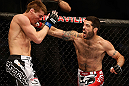 SAN JOSE, CA - APRIL 20:   (R-L) Matt Brown punches Jordan Mein in their welterweight bout during the UFC on FOX event during the UFC on FOX event at the HP Pavilion on April 20, 2013 in San Jose, California.  (Photo by Josh Hedges/Zuffa LLC/Zuffa LLC via Getty Images)  *** Local Caption *** Matt Brown; Jordan Mein