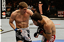 SAN JOSE, CA - APRIL 20:   (L-R) Jordan Mein punches Matt Brown in their welterweight bout during the UFC on FOX event at the HP Pavilion on April 20, 2013 in San Jose, California.  (Photo by Ezra Shaw/Zuffa LLC/Zuffa LLC via Getty Images)  *** Local Caption *** Matt Brown; Jordan Mein