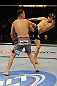 SAN JOSE, CA - APRIL 20:   (R-L) Josh Thomson kicks Nate Diaz in their lightweight bout during the UFC on FOX event at the HP Pavilion on April 20, 2013 in San Jose, California.  (Photo by Ezra Shaw/Zuffa LLC/Zuffa LLC via Getty Images)  *** Local Caption *** Nate Diaz; Josh Thomson