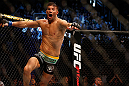 SAN JOSE, CA - APRIL 20:   Josh Thomson reacts to his victory over Nate Diaz in their lightweight bout during the UFC on FOX event during the UFC on FOX event at the HP Pavilion on April 20, 2013 in San Jose, California.  (Photo by Josh Hedges/Zuffa LLC/Zuffa LLC via Getty Images)  *** Local Caption *** Nate Diaz; Josh Thomson