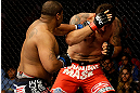 SAN JOSE, CA - APRIL 20:   (L-R) Daniel Cormier punches Frank Mir in their heavyweight bout during the UFC on FOX event at the HP Pavilion on April 20, 2013 in San Jose, California.  (Photo by Ezra Shaw/Zuffa LLC/Zuffa LLC via Getty Images)  *** Local Caption *** Frank Mir; Daniel Cormier
