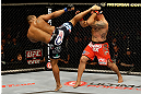 SAN JOSE, CA - APRIL 20:   (L-R) Daniel Cormier kicks Frank Mir in their heavyweight bout during the UFC on FOX event at the HP Pavilion on April 20, 2013 in San Jose, California.  (Photo by Ezra Shaw/Zuffa LLC/Zuffa LLC via Getty Images)  *** Local Caption *** Frank Mir; Daniel Cormier