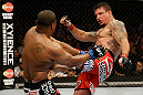 SAN JOSE, CA - APRIL 20:   (R-L) Frank Mir kicks Daniel Cormier in their heavyweight bout during the UFC on FOX event at the HP Pavilion on April 20, 2013 in San Jose, California.  (Photo by Ezra Shaw/Zuffa LLC/Zuffa LLC via Getty Images)  *** Local Caption *** Frank Mir; Daniel Cormier
