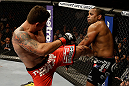 SAN JOSE, CA - APRIL 20:   (L-R) Frank Mir kicks Daniel Cormier in their heavyweight bout during the UFC on FOX event at the HP Pavilion on April 20, 2013 in San Jose, California.  (Photo by Ezra Shaw/Zuffa LLC/Zuffa LLC via Getty Images)  *** Local Caption *** Frank Mir; Daniel Cormier