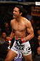 SAN JOSE, CA - APRIL 20:   Benson Henderson enters the Octagon to face Gilbert Melendez in their lightweight championship bout during the UFC on FOX event during the UFC on FOX event at the HP Pavilion on April 20, 2013 in San Jose, California.  (Photo by Josh Hedges/Zuffa LLC/Zuffa LLC via Getty Images)  *** Local Caption *** Benson Henderson; Gilbert Melendez
