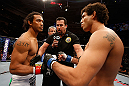 SAN JOSE, CA - APRIL 20:   (L-R) Benson Henderson and Gilbert Melendez face off in their lightweight championship bout during the UFC on FOX event during the UFC on FOX event at the HP Pavilion on April 20, 2013 in San Jose, California.  (Photo by Josh Hedges/Zuffa LLC/Zuffa LLC via Getty Images)  *** Local Caption *** Benson Henderson; Gilbert Melendez