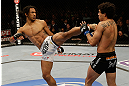 SAN JOSE, CA - APRIL 20:   (L-R) Benson Henderson kicks Gilbert Melendez in their lightweight championship bout during the UFC on FOX event at the HP Pavilion on April 20, 2013 in San Jose, California.  (Photo by Ezra Shaw/Zuffa LLC/Zuffa LLC via Getty Images)  *** Local Caption *** Benson Henderson; Gilbert Melendez