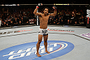 SAN JOSE, CA - APRIL 20:   Benson Henderson prepares for the final round of his fight against Gilbert Melendez in their lightweight championship bout during the UFC on FOX event at the HP Pavilion on April 20, 2013 in San Jose, California.  (Photo by Ezra Shaw/Zuffa LLC/Zuffa LLC via Getty Images)  *** Local Caption *** Benson Henderson; Gilbert Melendez