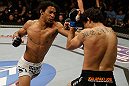 SAN JOSE, CA - APRIL 20:   (L-R) Benson Henderson punches Gilbert Melendez in their lightweight championship bout during the UFC on FOX event at the HP Pavilion on April 20, 2013 in San Jose, California.  (Photo by Ezra Shaw/Zuffa LLC/Zuffa LLC via Getty Images)  *** Local Caption *** Benson Henderson; Gilbert Melendez