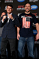 NEW YORK, NY - APRIL 25:   (L-R) Opponents Michael Bisping and Alan Belcher pose for photos during UFC 159 media day at The Theater at Madison Square Garden on April 25, 2013 in New York City.  (Photo by Josh Hedges/Zuffa LLC/Zuffa LLC via Getty Images)