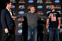 NEW YORK, NY - APRIL 25:   Opponents Michael Bisping (L) and Alan Belcher (R) are separated by UFC President Dana White during UFC 159 media day at The Theater at Madison Square Garden on April 25, 2013 in New York City.  (Photo by Josh Hedges/Zuffa LLC/Zuffa LLC via Getty Images)