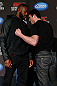 "NEW YORK, NY - APRIL 25:   (L-R) Opponents UFC Light Heavyweight Champion Jon ""Bones"" Jones and Chael Sonnen face off during UFC 159 media day at The Theater at Madison Square Garden on April 25, 2013 in New York City.  (Photo by Josh Hedges/Zuffa LLC/Zuffa LLC via Getty Images)"