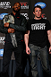 NEW YORK, NY - APRIL 25:   (L-R) Opponents UFC Light Heavyweight Champion Jon &quot;Bones&quot; Jones and Chael Sonnen pose for photos during UFC 159 media day at The Theater at Madison Square Garden on April 25, 2013 in New York City.  (Photo by Josh Hedges/Zuffa LLC/Zuffa LLC via Getty Images)